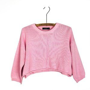 Glassons Pink Knit Cropped Sweater Pastel y2k